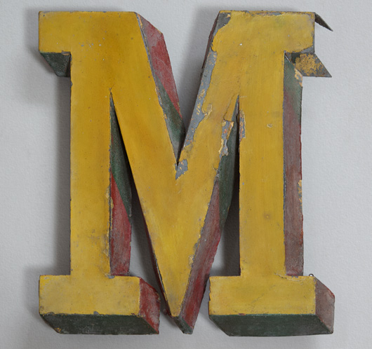 19th-century antique French zinc trompe l'oeil sign letter 'M'