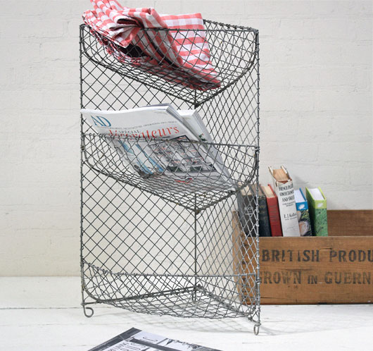 Early-1900s antique tiered wire vegetable rack