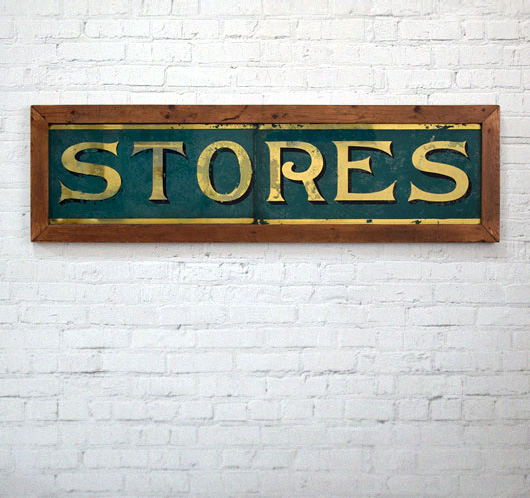 Large Victorian antique framed glass shop sign: Stores
