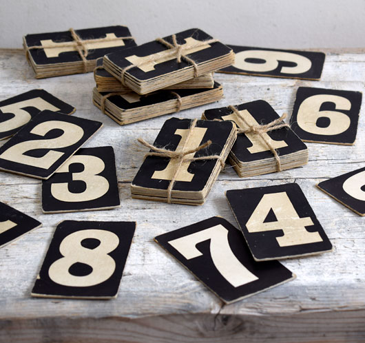 Early-1900s vintage hymn board number cards, 0 – 9