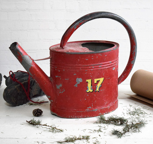 Early-1900s painted antique French zinc watering can