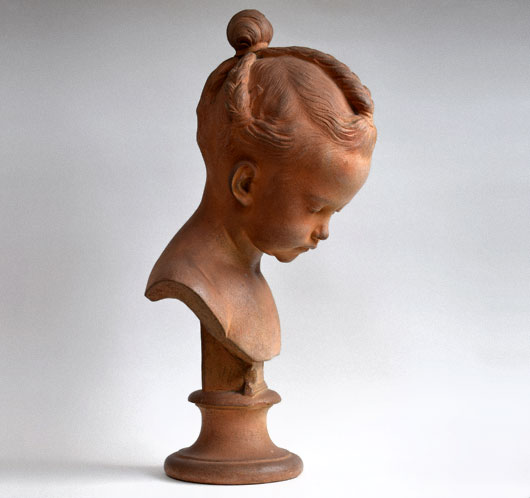 Antique French terracotta bust of a young girl, c. 1880
