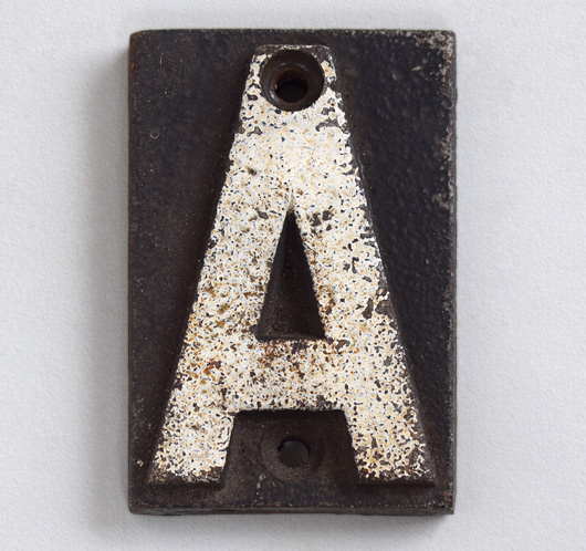 Victorian cast-iron railway sleeper marker letter 'A'