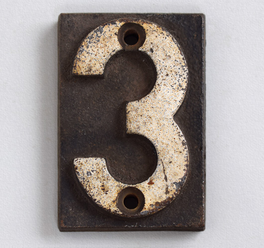 Victorian cast-iron railway sleeper marker number '3'