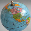 Early-1900s mounted French tin globe