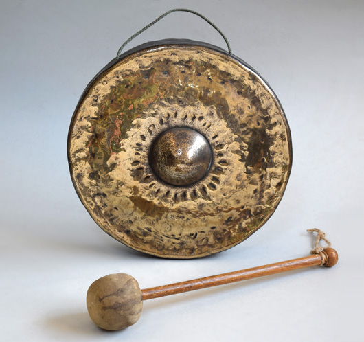 Early-1900s antique brass gong and wooden beater