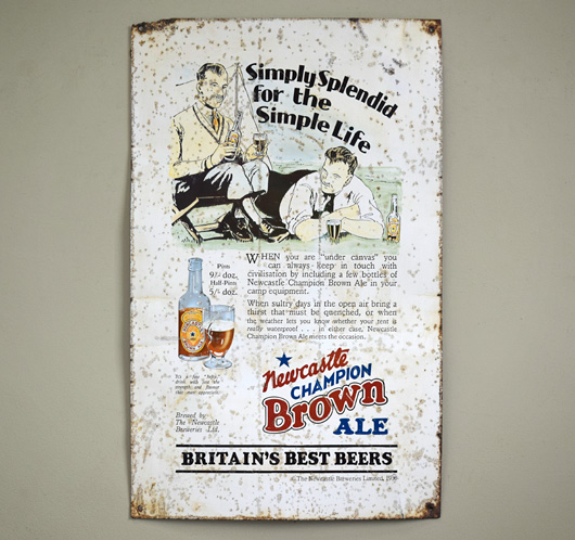 1930s vintage tinplate ale sign: Newcastle Brown