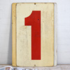 Large double-sided metal number sign: 0/1