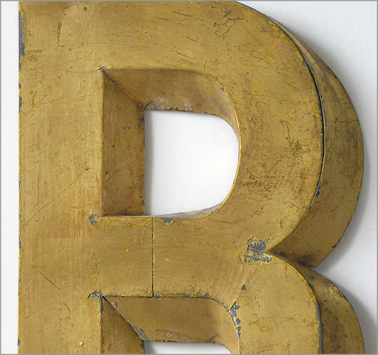 French metal trompe l'oeil display letter 'R', c. 1900