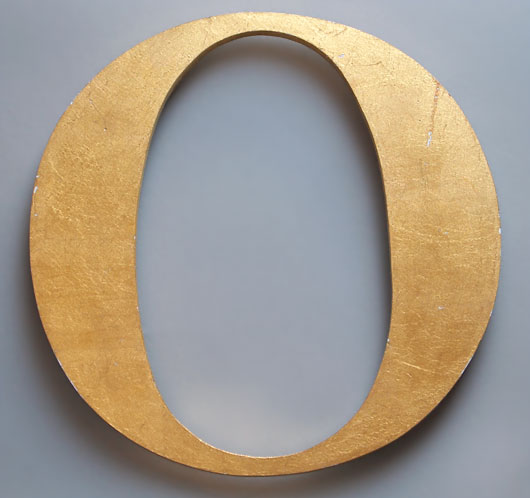 Large ex-pub sign vintage gold leaf letter 'O'
