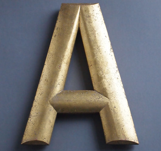 Vintage bow-fronted gold gilt pub sign letter 'A', early 1900s