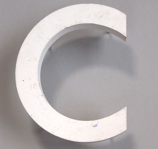 Vintage white painted wooden sign letter 'C'