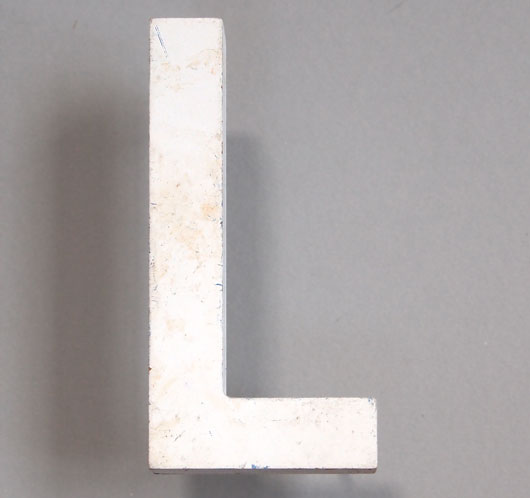 Vintage white painted wooden sign letter 'L'