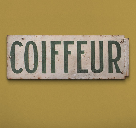Antique French hair salon sign: Coiffeur, c. 1900