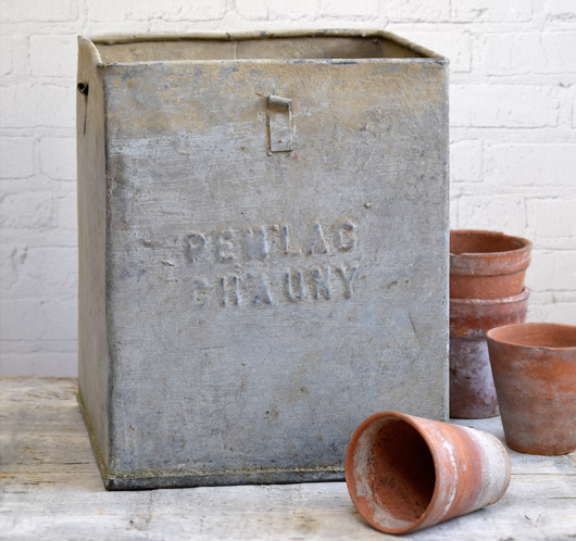 French industrial style vintage square zinc metal planter, c. 1900