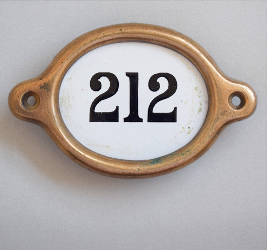 Antique brass and enamel hotel door number: '212'