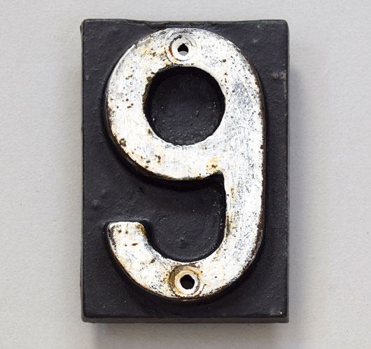 Victorian cast-iron vintage railway sleeper marker number '6' or '9'