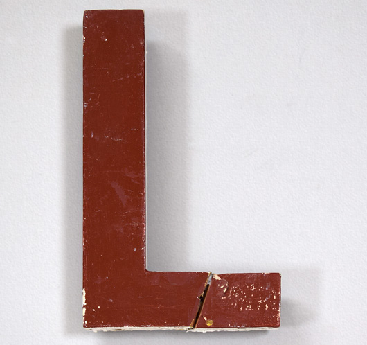 Mid-1900s vintage painted wooden sign letter 'L'