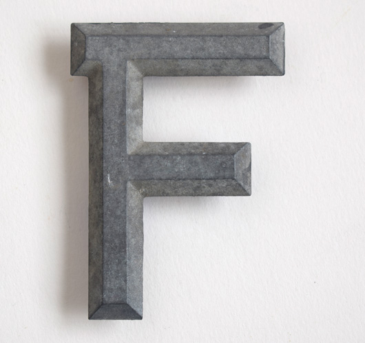 Early vintage car number plate metal letter 'F'