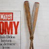 Pair of long wooden rowboat oars