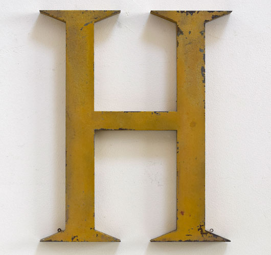 Large antique gold leaf metal sign letter 'H'