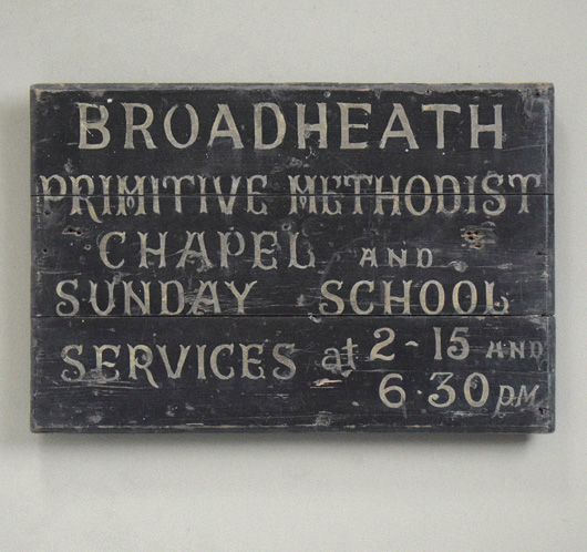 Victorian Wesleyan chapel and Sunday school sign