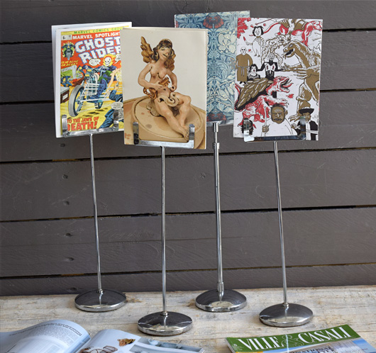 Vintage chromed metal shop price card stands