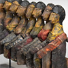 Mounted 19th-century Nepalese wooden puppets
