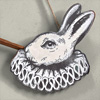 Wooden rabbit and horn wall hanging