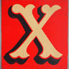 Hand-painted wooden sign: fairground letter 'X'