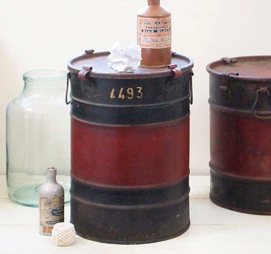 The Vintage Wall Tall Veedol Motor Oil Drum Side Table