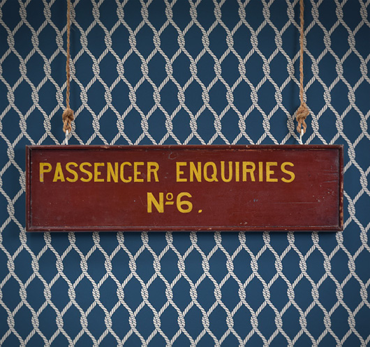 Early-1900s vintage wooden railway sign: Passenger Enquiries