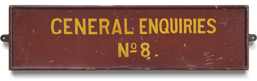 Antique early-1900s wooden railway sign: General Enquiries