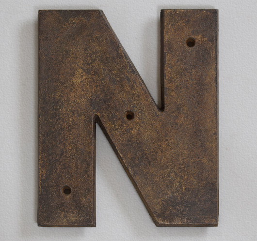Large antique cast-iron railway sign letter 'N', c. 1900