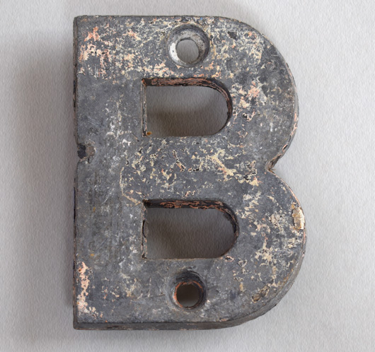 Small cast-metal antique sign letter 'B', c.1900