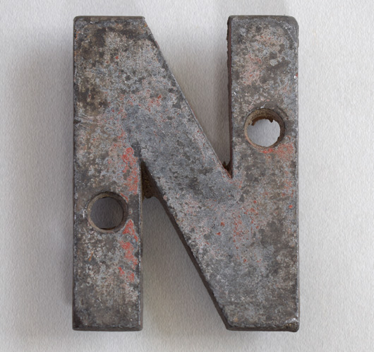 Small antique cast-metal sign letter 'N', c. 1900