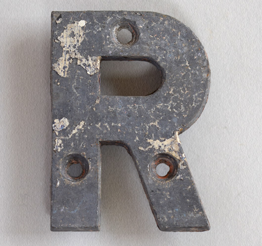 Small cast-metal antique sign letter 'R', c. 1900