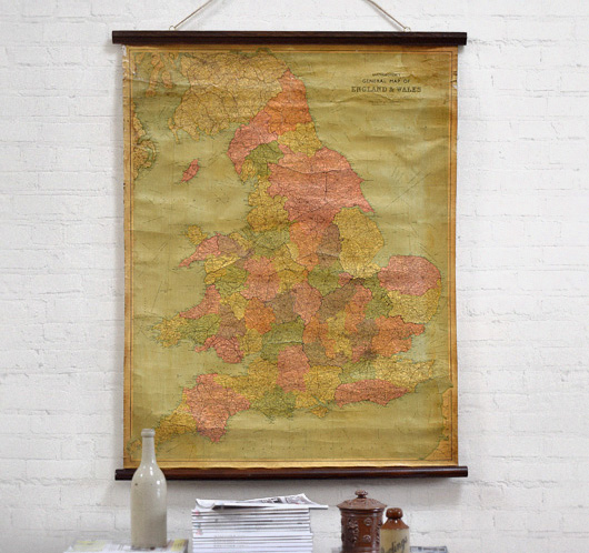 Large antique wall map of England and Wales