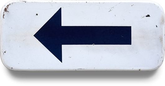 Vintage rectangular blue and white enamel arrow sign