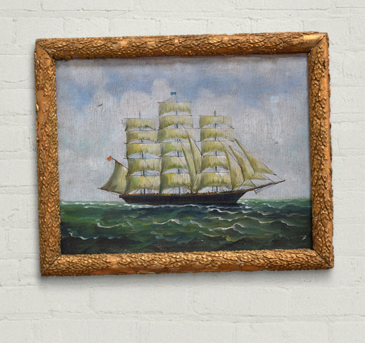 Early-1900s oil on canvas painting of a clipper ship