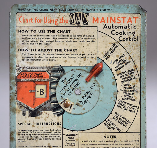 1930s vintage tin Mainstat gas cooker instructional wall chart