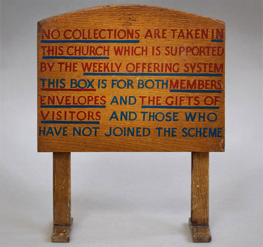 Early-1900s antique oak church collection sign