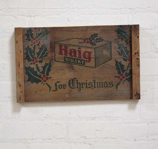 1920s antique Haig Whisky Christmas box lid wall hanging