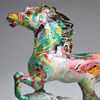 Mixed media horse sculpture in marbled paint