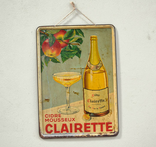 French antique tin advertising sign: Clairette cider