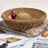 Large round French linen-lined bread basket