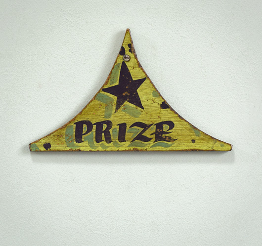 Painted triangular fairground sign: Prize