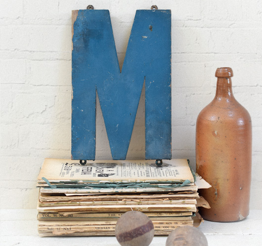Vintage painted blue wooden sign letter 'M' or 'W', c. 1920