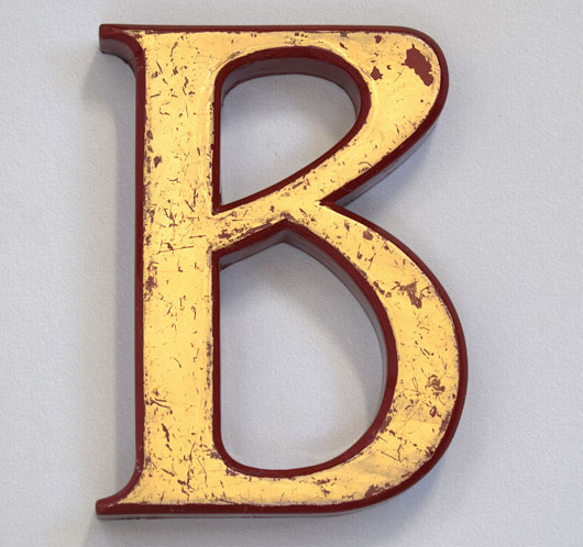 Vintage gold and red ex-pub sign ampersand
