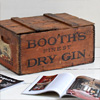 Early-1900s Booth's Gin crate with hinged lid